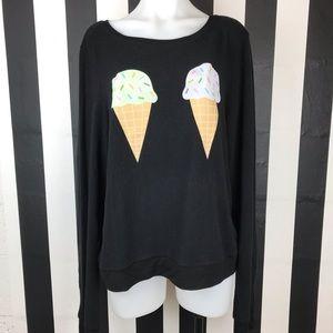 Wildfox Black Double Ice Cream Jumper Sweater